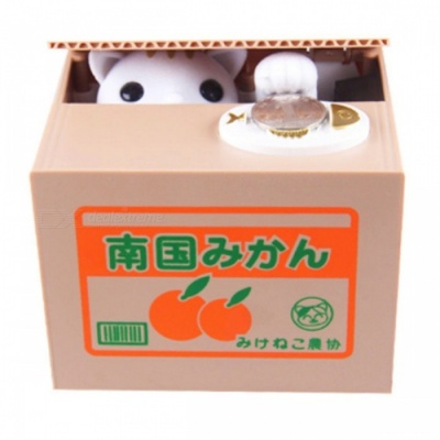 Mischief White Cat Shaped Automatic Electric Stole Coin Piggy Bank