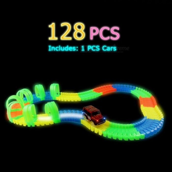 128Pcs DIY Tracks Assembly Toy Slot Car Set with LED Light for KidsBlocks &amp; Jigsaw Toys<br>Form  ColorColorful(128pcs and 1 car)ModelN/AMaterialPlasticQuantity1 DX.PCM.Model.AttributeModel.UnitNumber128PcsSuitable Age 5-7 years,8-11 years,12-15 yearsPacking List1 x Car128 x Blocks<br>