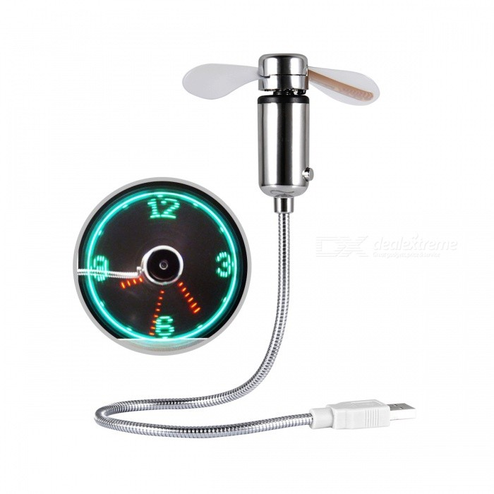 Flexible Mini USB Fan Clock with LED Time Display - SilverUSB Lights<br>Form  ColorSilverQuantity1 DX.PCM.Model.AttributeModel.UnitMaterialPVC + MetalShade Of ColorSilverLight ColorWhite LightLED QtyOthers,N/ALED TypeLEDPowered ByUSBPower0.5 DX.PCM.Model.AttributeModel.UnitPacking List1 x USB LED Clock Fan 1 x Time Setting Instructions<br>