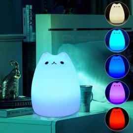 7-Color Changing Cat Shape LED USB Children's Night Light, Silicone Soft Cartoon Baby Nursery Lamp - White