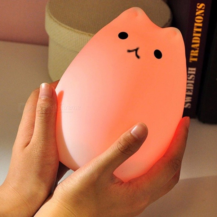7-Color Changing Cat Shape LED USB Children s Night Light, Silicone Soft Cartoon Baby Nursery ...