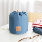 Large Capacity Barrel Shaped Travel Cosmetic Bag Nylon Wash Bags with Main / Mini / PVC Pouch - Blue