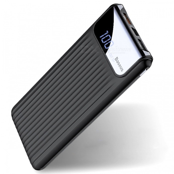 Baseus 10000mAh Quick Charge 3.0 Power Bank with Dual USB, Digital Display - BlackMobile Power<br>Form  ColorBlackModelPPYZ-C01Quantity1 pieceMaterialABS + PCShade Of ColorBlackCompatible ModelsOthers,UniversalCompatible TypeUniversalBattery TypeLi-polymer batteryBuilt-in Battery ModelOthers,N/AVoltage- VCapacity Range9001mAh~10000mAhNominal Capacity10000 mAhBattery Measured Capacity 9000 mAhInputMicro USB: DC 5V/2A; <br>Type C: 5V/2A , 9V/2AOutput interface, output current, output voltageUSB1: 5V/2.1A; <br>USB2: 3.6V-5V/3A;5V-9V/2A; <br>9V-12V/1.5ACharging TimeN/A hourWorking TimeN/A hourQuick ChargeQC 3.0FeaturesLED Indicator,Quick ChargeOther FeaturesFCC, CE, RoHS, MSDSPacking List1 x Power Bank<br>