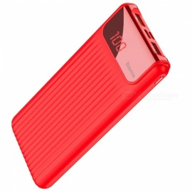 Baseus 10000mAh Type-C Dual USB Power Bank Quick Charge 3.0 LCD Display - Red