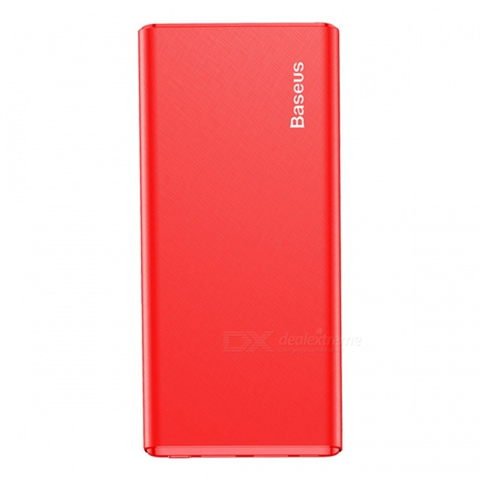 Baseus M10 Gaven 10000mAh 2.4A Ultra Slim Power Bank - RedMobile Power<br>Form  ColorRedModelPPM10-02Quantity1 pieceMaterialABS + PCShade Of ColorRedCompatible ModelsOthers,universalCompatible TypeUniversalBattery TypeLi-polymer batteryBuilt-in Battery ModelOthers,N/AVoltage- VCapacity Range9001mAh~10000mAhNominal Capacity10000 mAhBattery Measured Capacity 9000 mAhInputDC5V/2AOutput interface, output current, output voltage5V/2.4ACharging TimeN/A hourWorking TimeN/A hourQuick ChargeYesFeaturesQuick ChargeCertificationFCC,CE,RoHS,MSDSPacking List1 x Power Bank<br>