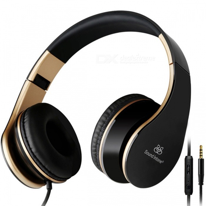 Sound Intone I65 Adjustable 3.5mm Wired Detachable Headset Headphone with Mic - Black + Golden