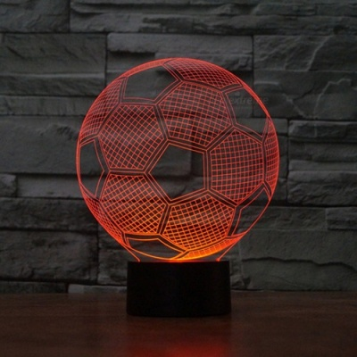 3D 3D Football Pattern Visual 7-Color Changing USB Touch Table Lamp, Night Light for Christmas Gifts
