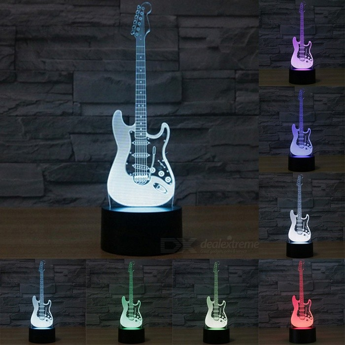Creative 3D Electric Guitar Shape 7-Color Changing USB Touch Sensor Desk Light Night LightUSB Lights<br>Form  ColorBlack + TransparentQuantity1 DX.PCM.Model.AttributeModel.UnitMaterialABS + AcrylicShade Of ColorBlackLight Color7 Color ChangingLED QtyOthers,/Powered ByUSBPower0-5 DX.PCM.Model.AttributeModel.UnitPacking List1 x 3D Illusion Light 1 x USB cable<br>