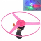 Funny Pull String Colorful LED Light Up Frisbee Flying Saucer Disc, Kids Toy - Black + Pink