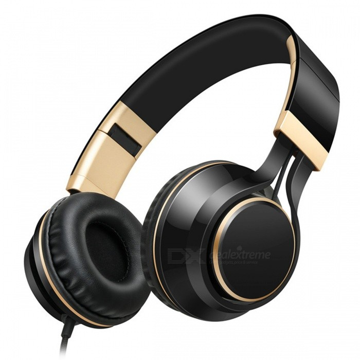 Sound Intone I58 Stylish Foldable Headphones Earphones with Microphone - Black + GoldenHeadphones<br>Form  ColorBlack + GoldBrandOthers,Sound IntoneModelI58MaterialPlastic + MetalQuantity1 DX.PCM.Model.AttributeModel.UnitConnection3.5mm WiredBluetooth VersionNoCable Length1.4 DX.PCM.Model.AttributeModel.UnitHeadphone StyleBilateral,HeadbandWaterproof LevelOthers,SweatproofApplicable ProductsUniversalHeadphone FeaturesPhone Control,Long Time Standby,Noise-Canceling,Volume Control,With Microphone,PortableSupport Memory CardNoSupport Apt-XNoSensitivity103±3dBFrequency Response20-20KHzImpedance32 DX.PCM.Model.AttributeModel.UnitPacking List1 x Headphones<br>