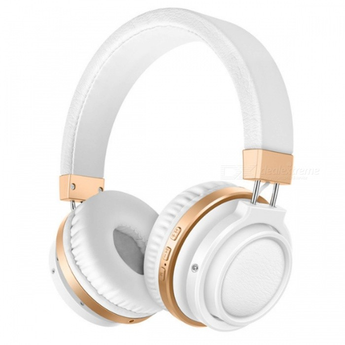 Sound Intone P3 Wireless Bluetooth V4.1 Headphones - White + GoldHeadphones<br>Form  ColorWhite + GoldenBrandOthers,Sound IntoneModelP3MaterialPlastic + MetalQuantity1 DX.PCM.Model.AttributeModel.UnitConnection3.5mm Wired,BluetoothBluetooth VersionBluetooth V4.1Headphone StyleBilateral,HeadbandWaterproof LevelOthers,SweatproofApplicable ProductsUniversalHeadphone FeaturesPhone Control,Long Time Standby,Noise-Canceling,Volume Control,With Microphone,Portable,For Sports &amp; ExerciseSupport Memory CardYesMemory Card SlotStandard TF CardMax. Memory Supported16GBSupport Apt-XNoSensitivity108±3dBFrequency Response20-20000HzImpedance32 DX.PCM.Model.AttributeModel.UnitBattery TypeLi-ion batteryBuilt-in Battery Capacity 400 DX.PCM.Model.AttributeModel.UnitStandby Time30 DX.PCM.Model.AttributeModel.UnitMusic Play Time8 DX.PCM.Model.AttributeModel.UnitPacking List1 x Headphone<br>