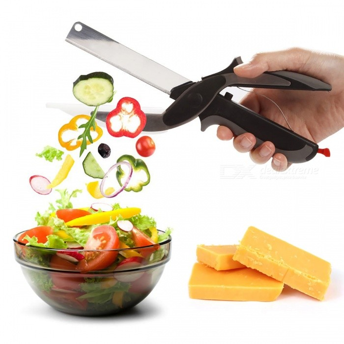 PJ5782 2-in-1 Multi-Functional Kitchen Scissors Cutter Knife