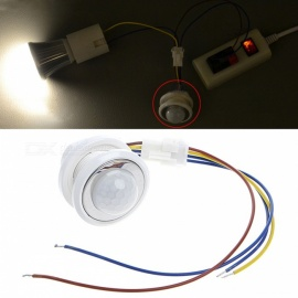New 40mm LED PIR Detector Infrared Motion Sensor Switch with Adjustable Time Delay - White