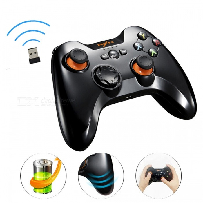 PXN 9603 2.4GHz Wireless Dual Vibration Joystick Controller Gamepad for PS3 Android Phones Tablet PCs - Black