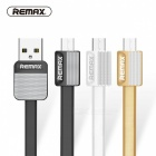 Remax 2.1A Durable Flat Metal Micro USB Fast Charge Charging Data Cable - White