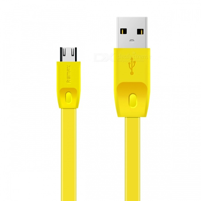 Remax 1M Full Fast Charge 2.1A Micro USB Flat Data Sync Charging Cable - YellowCables<br>Form  ColorYellowMaterialTPEQuantity1 DX.PCM.Model.AttributeModel.UnitCompatible ModelsUniversalCable Length100 DX.PCM.Model.AttributeModel.UnitConnectorMicro USBSplit adapter number1LengthOtherPacking List1 x Cable<br>
