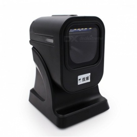 YK&SCAN QR 1D 2D Omnidirectional Barcode Scanner Platform - Black (With USB Cable)