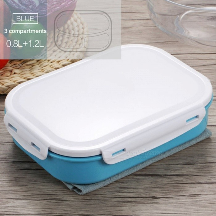 413cbe5f892 Japanese Style 304 Stainless Steel Lunch Box with Three Compartments Bento  Box Picnic Food Container for School Kids - Blue
