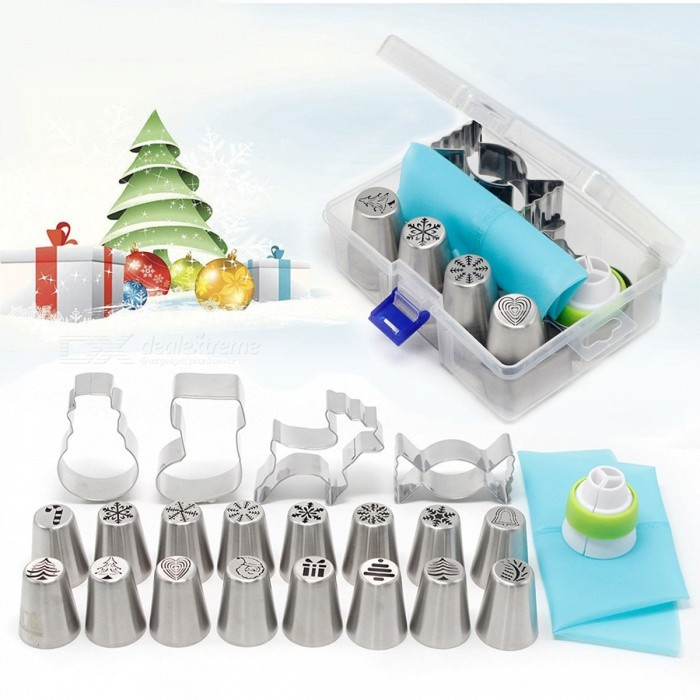 20Pcs Christmas Style Pastry and Cookie Mold Set, Cake DIY Baking ToolFood Molds<br>Form  Color20 PCSModelBaking &amp; Pastry ToolsMaterialStainless SteelQuantity1 DX.PCM.Model.AttributeModel.UnitPacking List16 x Russian pastry nozzles4 x Cookie Molds1 x Big nozzle converter1 x TPU pastry bag1 x Storage box<br>
