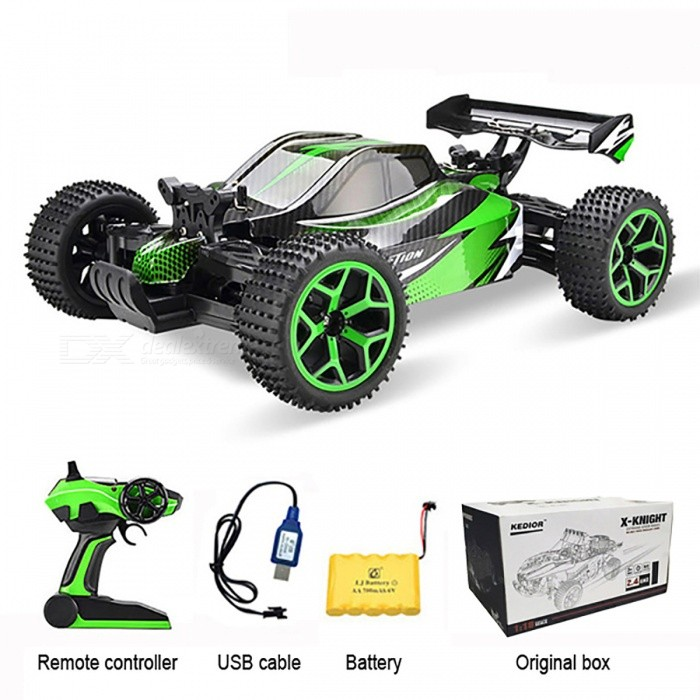 1:18 4-Wheel Drive Remote Control Racing Car Toy for Kids - GreenR/C Cars<br>Form  ColorGreen - Original BoxModelN/AMaterialPlastic,Carbon Fiber,Rubber,MetalQuantity1 DX.PCM.Model.AttributeModel.UnitShade Of ColorGreenShape ModelOthers,N/AScaleOthers,1:18Channels Quanlity4 DX.PCM.Model.AttributeModel.UnitFunctionOthers,N/ARemote control frequency2.4GHzRemote Control Range50-80 DX.PCM.Model.AttributeModel.UnitSuitable Age 8-11 years,12-15 years,Grown upsCameraNoLamp NoBattery Capacity700 DX.PCM.Model.AttributeModel.UnitBattery TypeLi-ion batteryCharging Time3-4 DX.PCM.Model.AttributeModel.UnitWorking Time15 DX.PCM.Model.AttributeModel.UnitRemote Controller Battery TypeAARemote Controller Battery Number2*1.5V AA battery (Not Included)Packing List1 x 4-wheel drive racing car1 x USB Cable1 x Battery1 x Remote Controller<br>