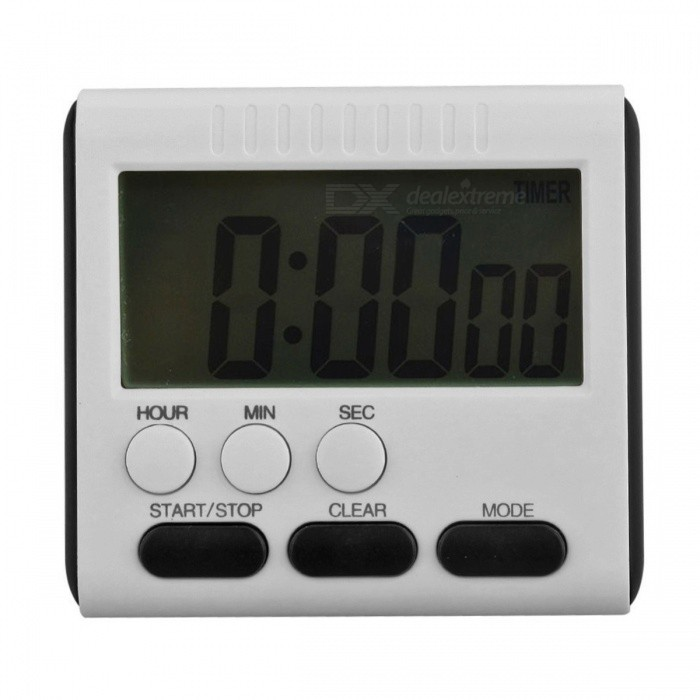 Magnetic Large LCD Digital Kitchen Timer with Loud Alarm, Count Up &amp; Down Clock to 24 Hours - WhiteTimer<br>Form  ColorWhiteShade Of ColorWhiteMaterialPlasticQuantity1 DX.PCM.Model.AttributeModel.UnitTiming Range6 DX.PCM.Model.AttributeModel.UnitPacking List1 x LCD Digital Kitchen Timer<br>