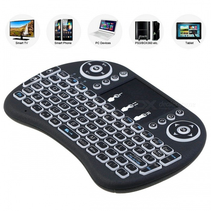 i8 Mini 2 4GHz Wireless Touchpad Keyboard with Backlight for Raspberry Pi  3, RPI 2, Mini PC, Smart TV, Android TV Box