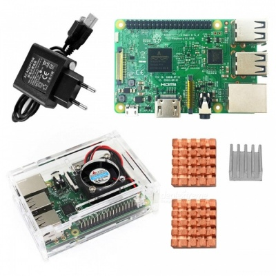 Raspberry Pi 3 Model B Starter Kit, PI 3 Board + PI 3 Case + EU Power Plug +  PI 3 B Heatsink