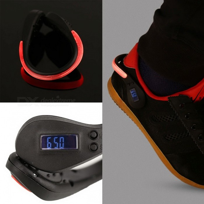 New LED Clip-On Clamp Shoe Flashing Light w/ Sports Fitness Pedometer for Runners Cyclists - BlackFitness electronics<br>Form  ColorBlackModelN/AQuantity1 DX.PCM.Model.AttributeModel.UnitMaterialPlasticGenderUnisexScreen Size/ DX.PCM.Model.AttributeModel.UnitPowered ByBuilt-in BatteryPacking List1 x LED Clip-On Shoe Light w/ Pedometer (with battery)<br>