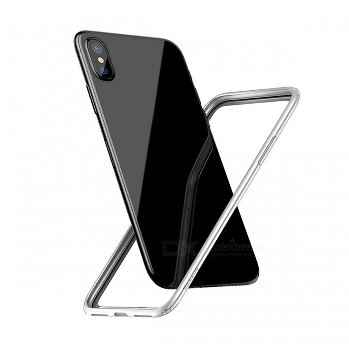 Baseus Shockproof Protective PC + Soft TPU Bumper Border Frame Case for IPHONE X - WhitePlastic Cases<br>Form  ColorWhiteQuantity1 pieceMaterialPC+TPUCompatible ModelsiPhone XDesignSolid ColorStyleBumper CasesPacking List1 x Bumper case<br>