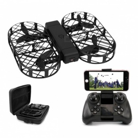 RC Quadcopter Foldable Drone with Camera hd 480P 720P FPV WiFi Control 2.4G 4CH 6 Axis Gyro with Ba14444444 Black(720P Camera)
