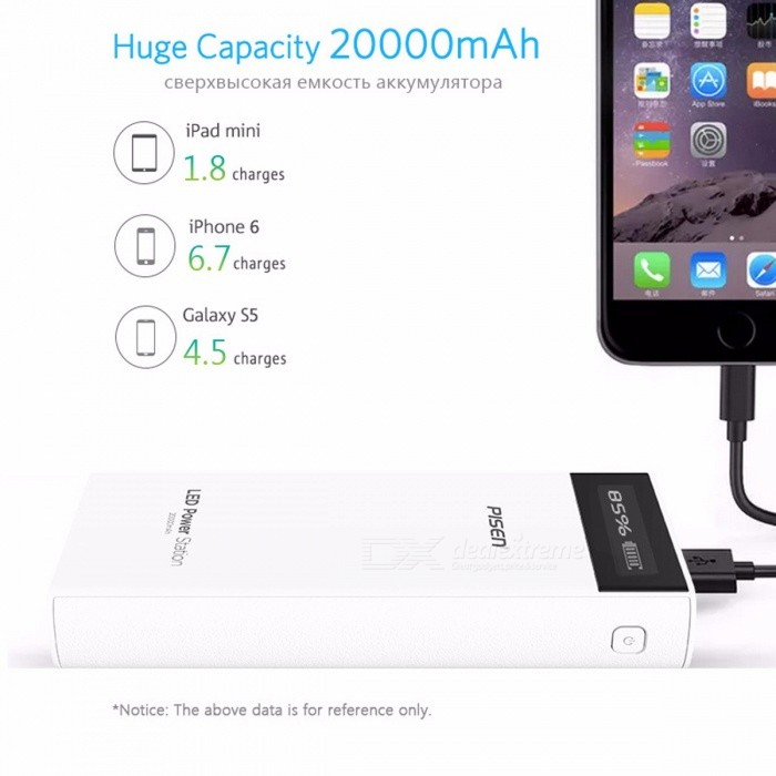PISEN 18650 Power Bank 20000mAh Portable External Battery Pack Backup Charger LCD Dual USB Powerbank for Phones and Tablets