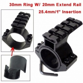 "Rifle Scope Mount Barrel 1""/ 25.4mm 30mm Ring Adapter s/ 2mm Scope Weaver Picatinny Rail Mount, Picatinny Weaver Black"