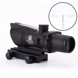 4x32 Acog Riflescope 20mm Dovetail Reflex Optics Scope Tactical Sight Rifle  w/ Tri-Illuminated Chevron Recticle Fiber Source black