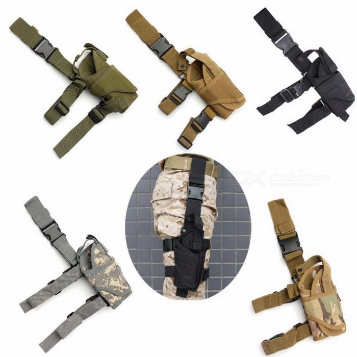 Right Drop Leg Adjustable Tactical Army Pistol Gun Thigh Holster Pouch Holder, Easy to Attach and Remove CP CamoGun Holsters<br>DescriptionMaterial: Nylon<br>