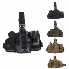 Tactical Universal Hunting Army Adjustable Pistol Molle Drop Leg Stickers Design Nylon Platform Panel Pistol Holster Bag Pouch Green