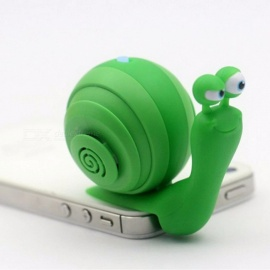 Creative Snail Style Mini 3.5mm Plug Audio Music Speaker Stereo Mobile Phone Speaker with Stand Function Green