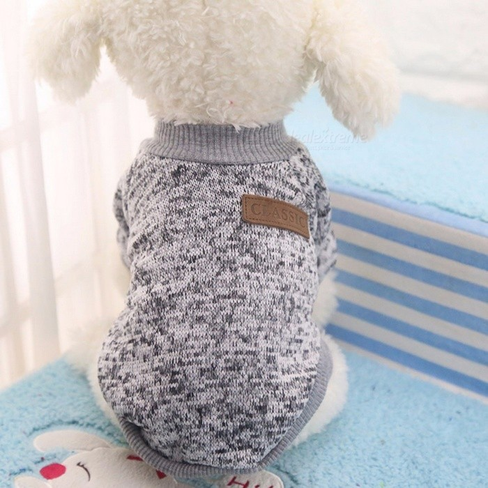 Winter Warm Classic Dog Clothes, Puppy Outfit, Pet Jacket Coat, Soft Sweater Clothing for Small Medium Dogs Chihuahua S/GreyPet Apparel<br>DescriptionType: DogsPattern: SolidBrand Name: IDEPETMaterial: 100% CottonSeason: All Seasons<br>