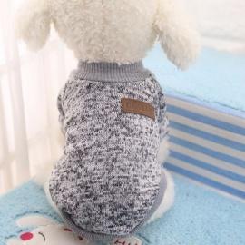 Winter Warm Classic Dog Clothes, Puppy Outfit, Pet Jacket Coat, Soft Sweater Clothing for Small Medium Dogs Chihuahua S/Grey