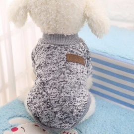 Winter Warm Classic Dog Clothes, Puppy Outfit, Pet Jacket Coat, Soft Sweater Clothing for Small Medium Dogs Chihuahua XS/Grey