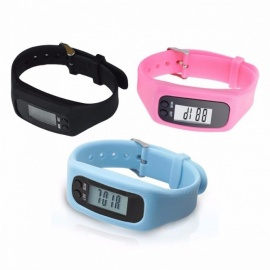 LCD Running Exercising Step Counter Fitness Silicone Wristband Smartband Smart Wrist Watch Bracelet Pedometer Sports Monitor Black