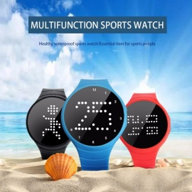 LED Lattice Digital Sports Pedometer Smart Calories Calculation Watch Step Counter Gaming Smart Bracelet for Walking Running  Red