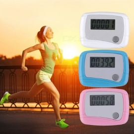 Premium Portable Mini Digital LCD Running Step Pedometer, Battery Powered Walking Distance Counter - White white