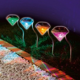 4pcs/lot Waterproof Outdoor Solar Power Lawn Lamps LED Spot Light Garden Path Stainles Steel Solar Landscape Garden Luminaria RGB Light