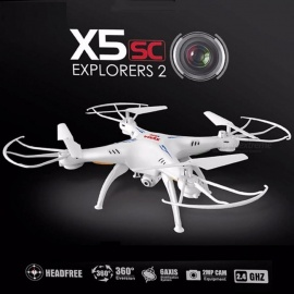 Syma X5SC-1 Mini Drone RC Quadcopter RTF 2.4G 4CH 6-Axis Professional Aerial Helicopter Toy with 2.0MP Camera, Headless Mode Orange