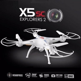 Syma X5SC-1 Mini Drone RC Quadcopter RTF 2.4G 4CH 6-Axis Professional Aerial Helicopter Toy with 2.0MP Camera, Headless Mode Black