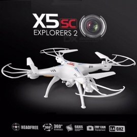 Syma X5SC-1 Mini Drone RC Quadcopter RTF 2.4G 4CH 6-Axis Professional Aerial Helicopter Toy with 2.0MP Camera, Headless Mode White