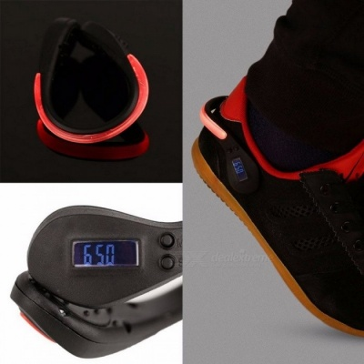 Securely Hooks LED Luminous Shoe Night Clip Light Sport Safety Warning Lamp With Step Counter (1 x CR2032) Black