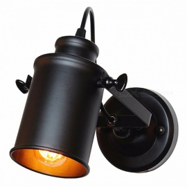 ASCELINA Wall Lamp American Retro Country Loft Style LED Lamps Industrial Vintage Iron Wall Light for Bar Cafe Home Lighting Black No Bulb