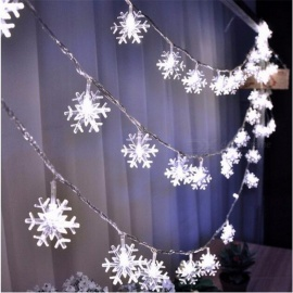 10m 50-LED Snowflake String Fairy Lights for New Year, Christmas Xmas, Party, Wedding, Garden Garland Decoration White(US plug)/White
