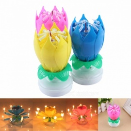 Electric Musical Lotus Flower Shape Art Candle Rotating Light, Birthday Cake LED Candle Lamp for Ornament Blue